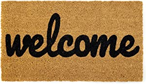 Welcome mat | Doormat for Front Door | Entryway Outdoor Floor mat | Cursive Welcome mat | Natural Coconut Coir | Brown Mat with Black Font |