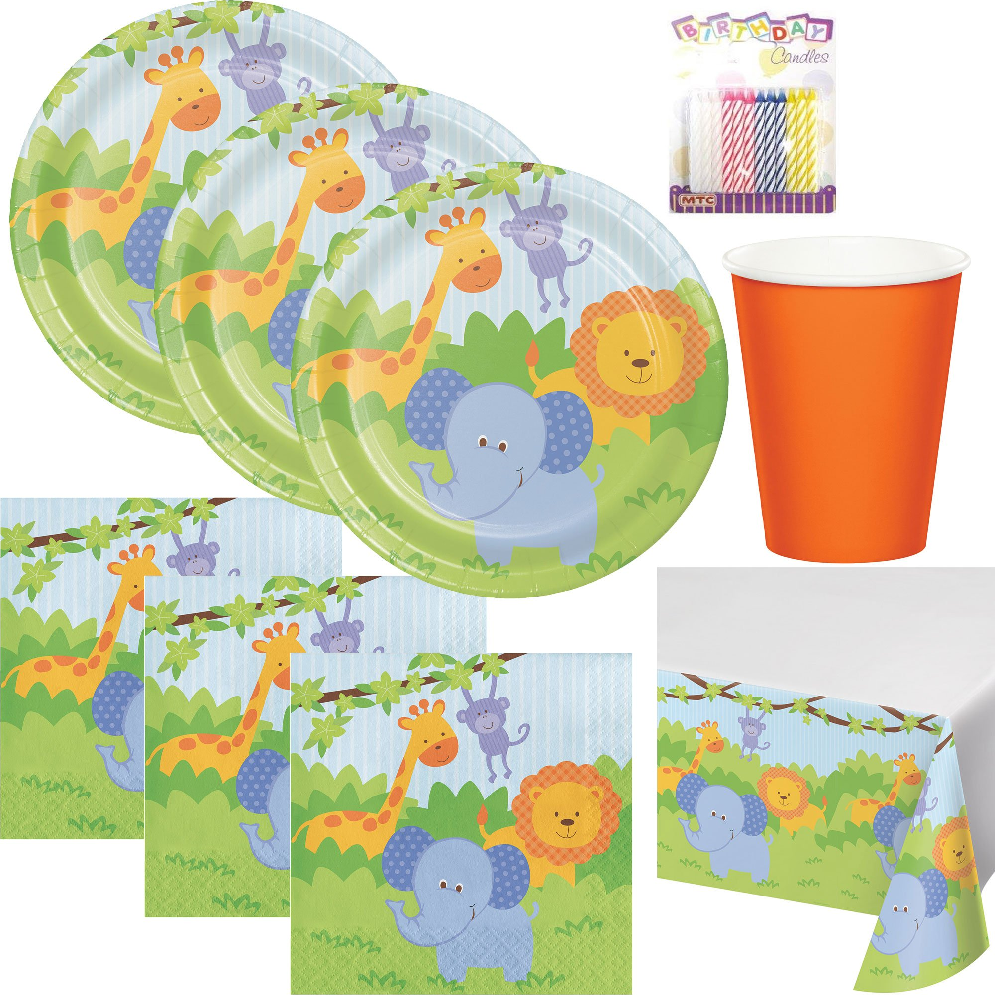 Forest Friends Birthday Theme 1st Party Supplies Pack (Serves-16) Dinner Plates, Luncheon Napkins, Cups, and Table Cover - First Zoo Party Supply Tableware Set Kit Includes Birthday Candles
