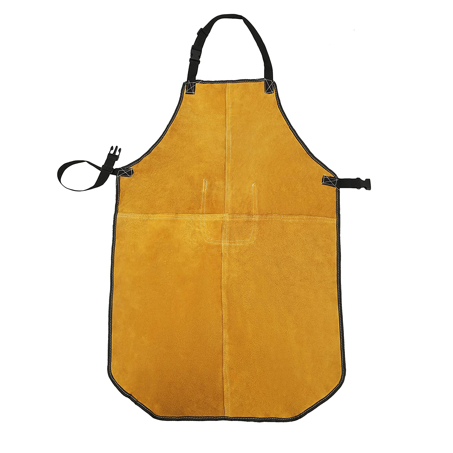 Mufly Welding Apron Yellow Cowhide Split Leather Extra Large Bib Apron with Tool Pockets Heat Flame-Resistant Work Apron 28-Inch X 39-Inch