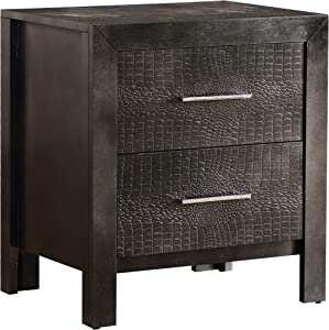 Glory Furniture 2 Drawer Nightstand, Charcoal