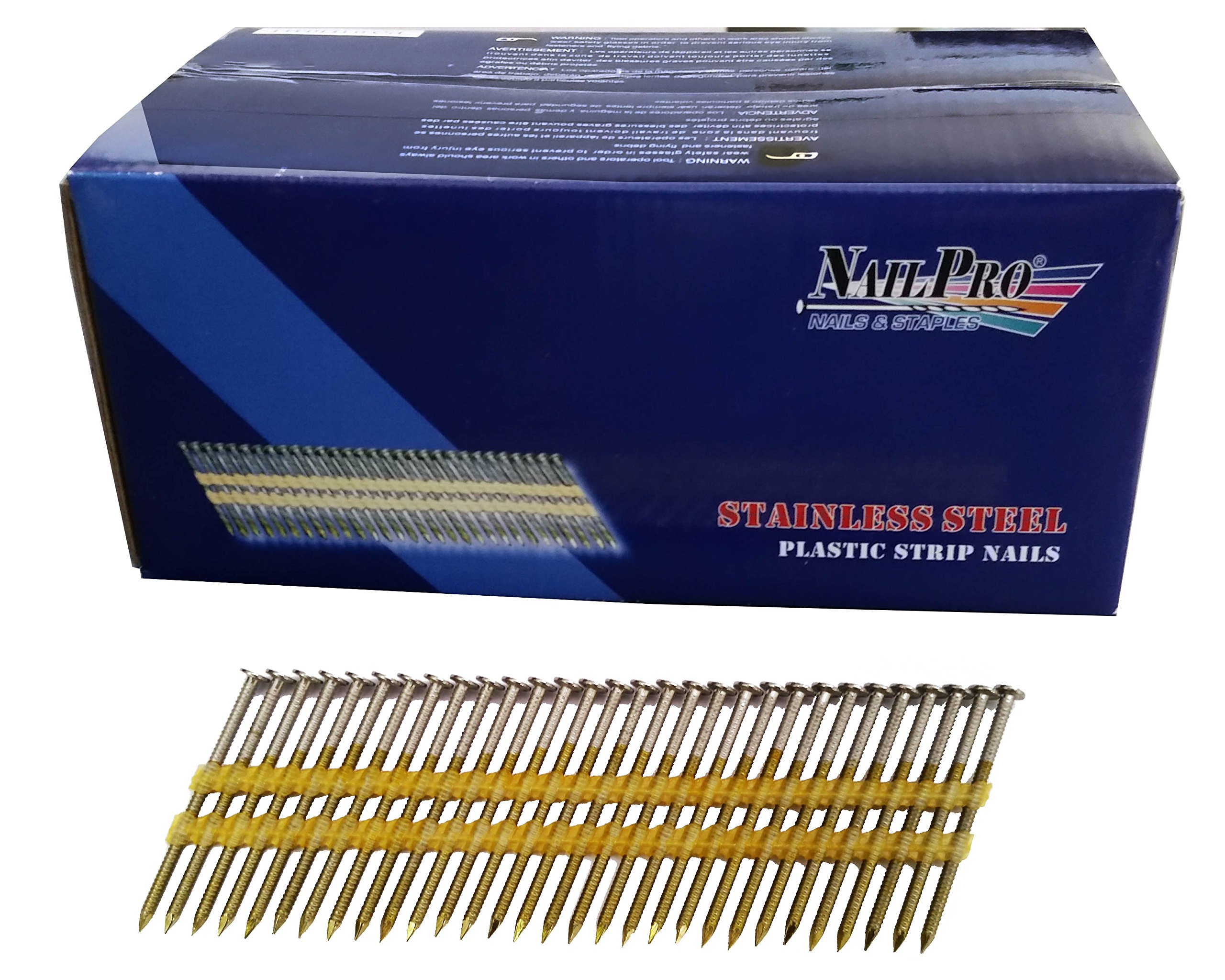 NailPro 3-1/2 Inch by 0.131 - 1000 Pcs. per Carton - Type 316 Stainless Steel - 21 Degree (Fits 20-22 Degree Nailers) Plastic Strip - Ring Shank - Full Head Nails
