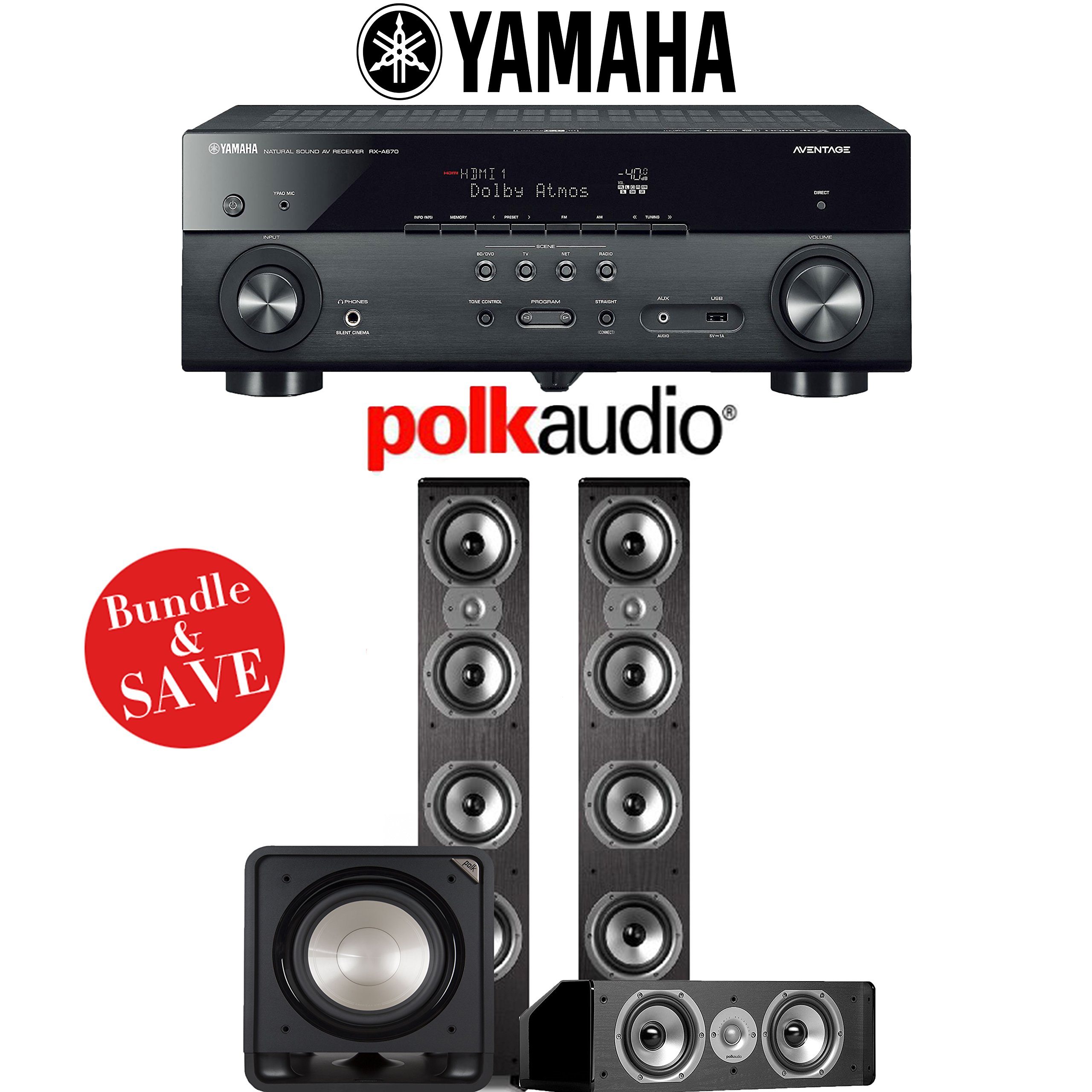 Yamaha AVENTAGE RX-A670BL 7.2-Ch 4K Network AV Receiver + Polk Audio TSi 500 + Polk Audio CS10 + Polk Audio HTS12 - 3.1-Ch Home Theater Package by Polk Audio