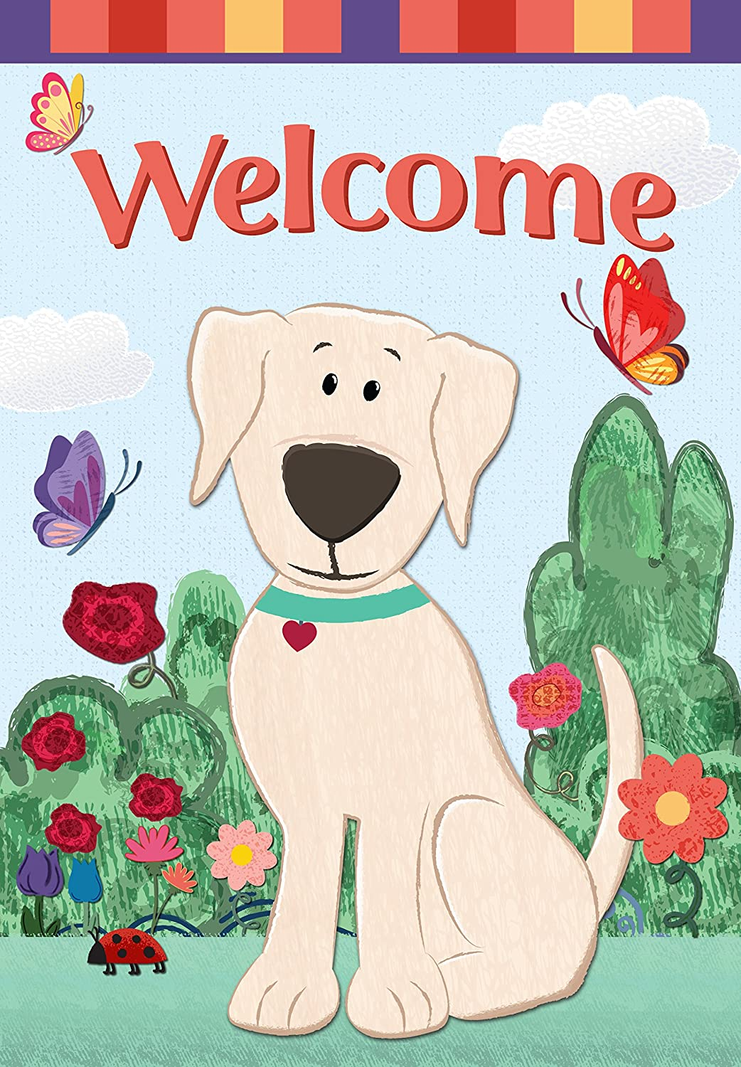 Eastif Welcome Dog & Butterflies Garden Flag Double Sided