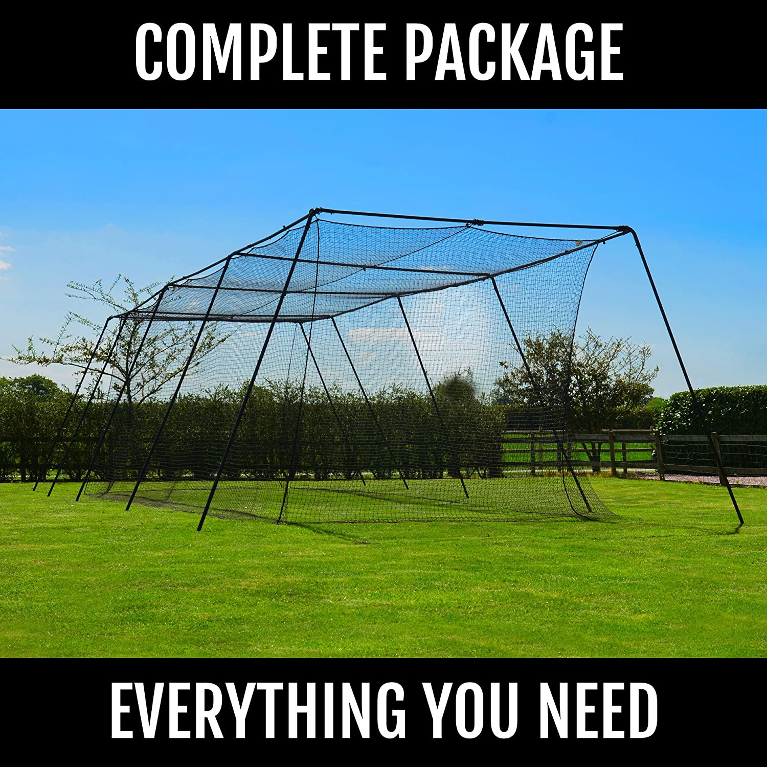 Amazon.com : FORTRESS Trapezoid Baseball Batting Cage [Complete Package]    Softball Hitting Cage Net : Sports U0026 Outdoors