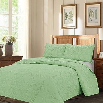 royal home decor 3 pc bedspread set with sea world pattern king sage - Royal Home Decor