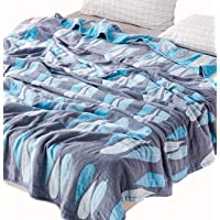 """Scientific Sleep Leaves 100% Cotton Muslin Blanket Throw Cover for Bed, Couch & Sofa, Cozy Soft Lightweight Warm Bedspread Coverlet Twin 59"""" X 78"""" Blue"""