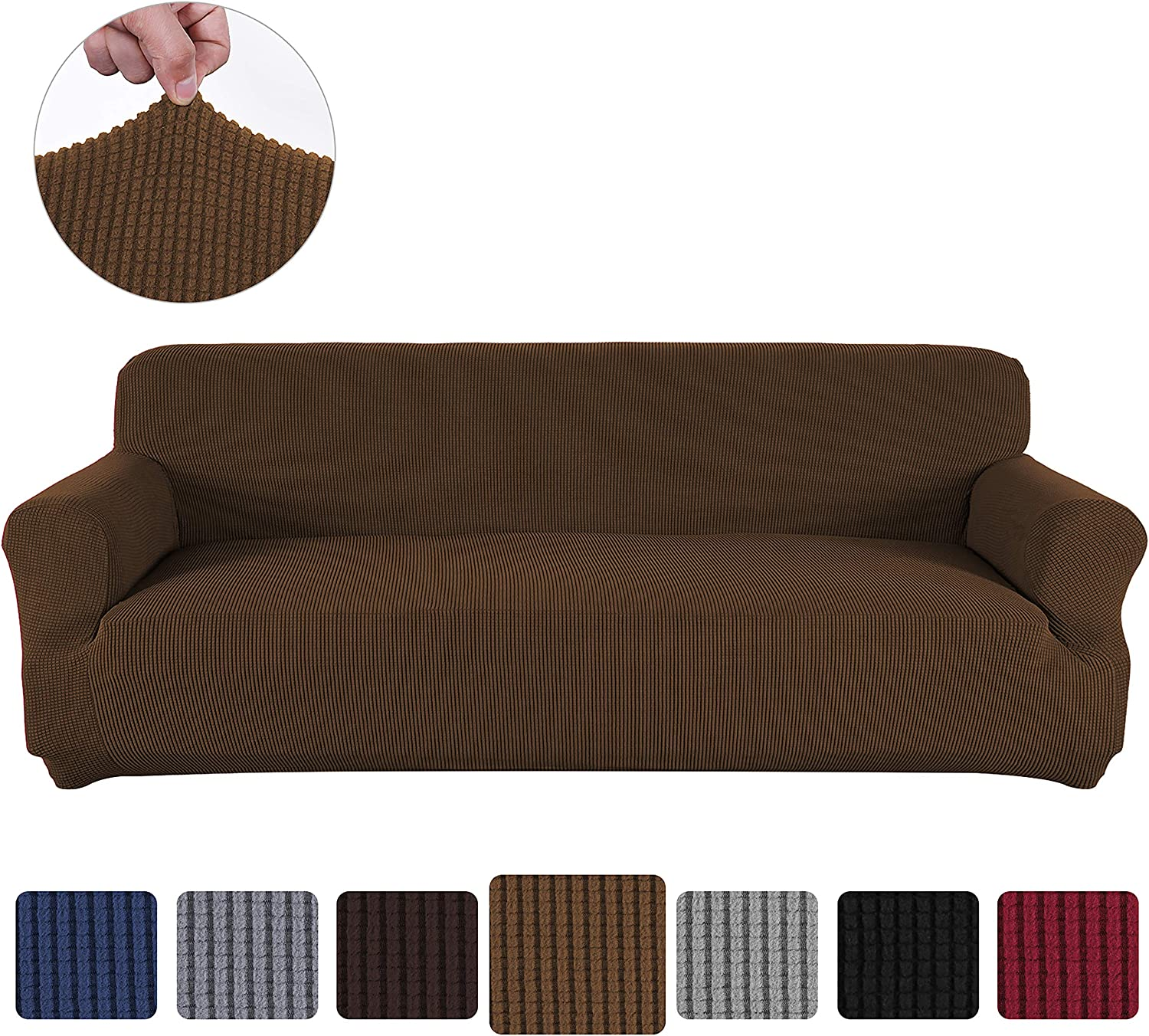 Obstal Stretch Spandex Sofa Cover, 3 Seat Couch Covers for Living Room, Anti-Slip Sofa Slipcover with Elastic Bottom, Sofa Couch Coverings Furniture Protector for Dogs, Cats, Pets, and Kids