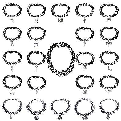 23pcs Jewellery Set Black Gothic Stretch Elastic Double Line Henna Tattoo Choker Collar Pendant Necklace yCJIWj