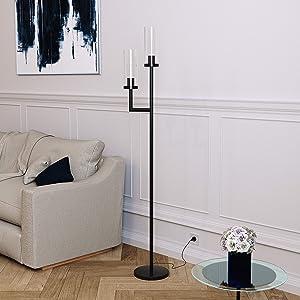 Henn&Hart FL0013 Hand Blown Glass Lamp, One Size Black