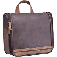 Hanging Toiletry Bag for Men VANCASE Vintage Leather Shaving Dopp Kit  Medium Waterproof Travel Bathroom Bags 6f7e469f87