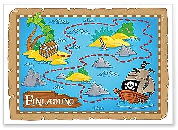 12 Einladungskarten Zum Kindergeburtstag U0026quot;Piratenpartyu0026quot;  Geburtstagseinladungen Jungen Mädchen Kinder Einladungen Schatzkarte  Schatzinsel ...