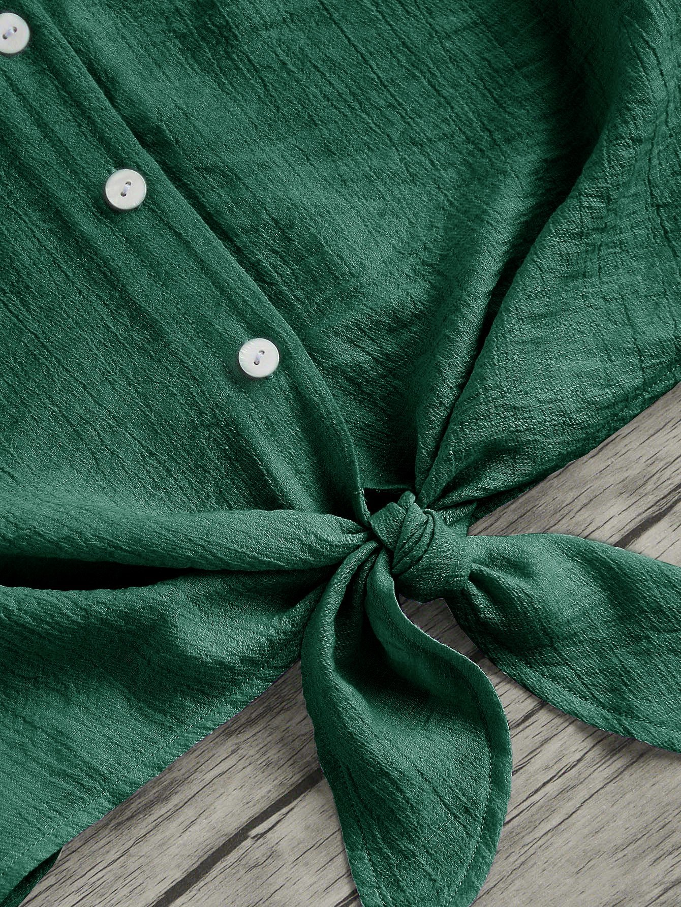 MakeMeChic Women's Casual V Neck Button Seft Tie Front Crop Cami Tops Camisole Green S by MakeMeChic (Image #3)