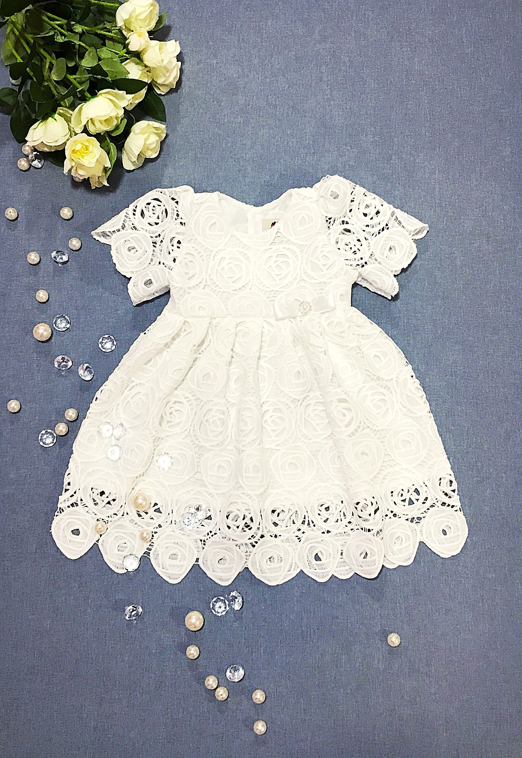Off White Guipure Christening Gown by Cool bébés