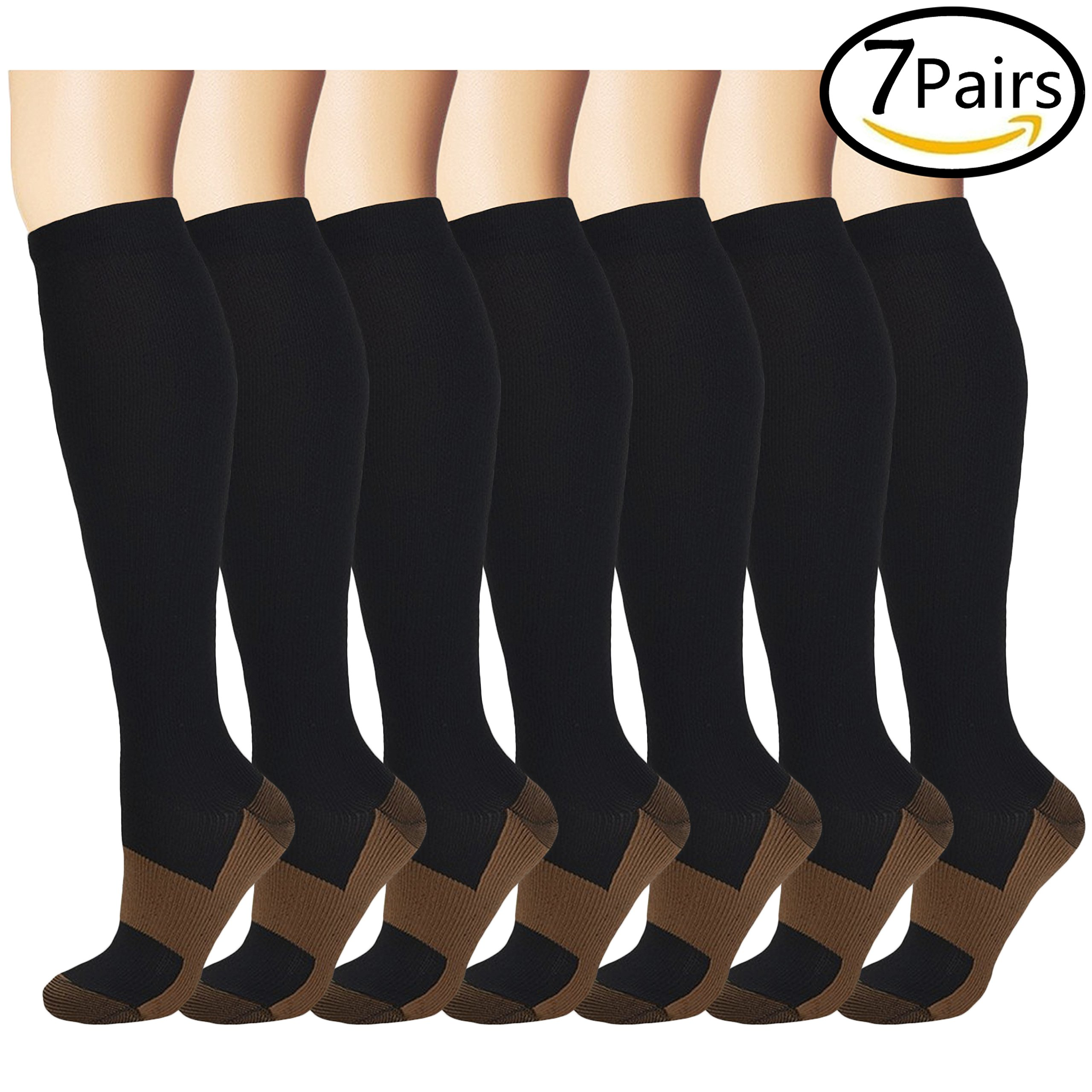 Copper Compression Socks (7 Pairs) for Women and Men - Best Medical, Nursing, for Running, Athletic, Edema, Diabetic, Varicose Veins, Travel, Pregnancy & Maternity - 15-20mmHg (Large/X-Large, Black)