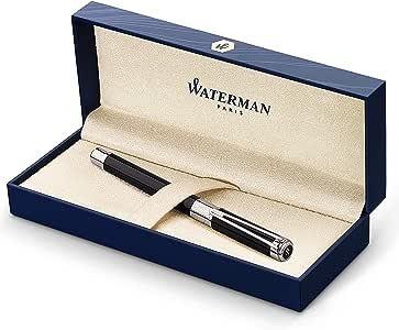Waterman Perspective - Pluma estilográfica, color negro brillante con adorno cromado, plumín mediano con cartucho de tinta azul, estuche de regalo: Amazon.es: Oficina y papelería