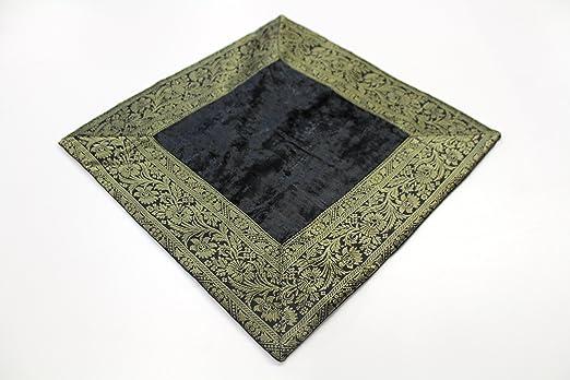 India Cojín 60 x 60 cm Funda de cojín almohada funda India oriental, negro, 60 x 60 cm