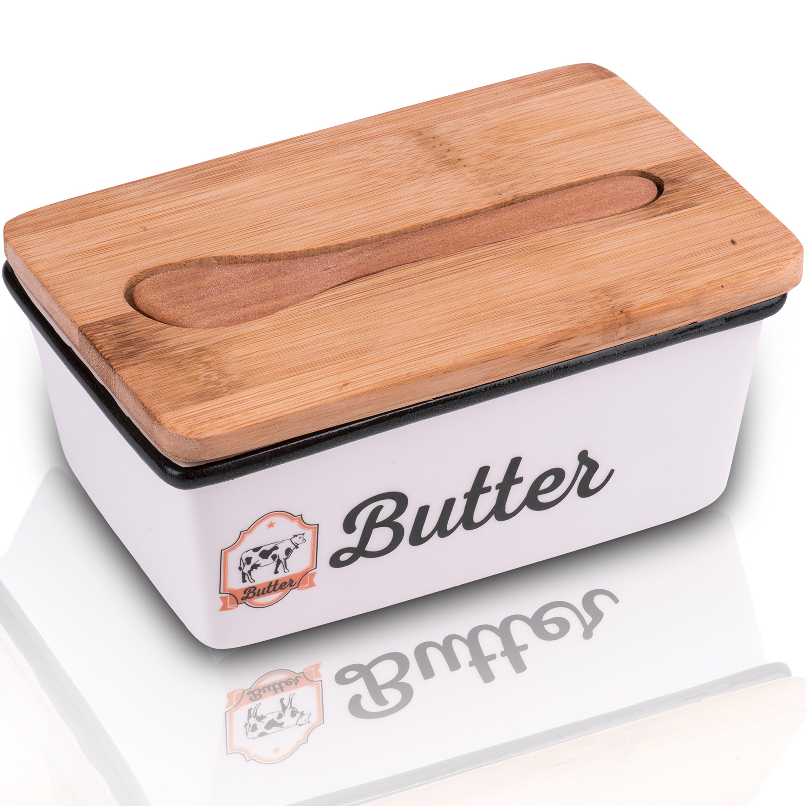 Adirom Butter Dish , Butter Dish with Lid - Elegant Porcelain Butter crock with Bamboo Cover Keeps Your Butter Fresh, Clean and Flavorful ,BONUS- Bamboo Spoon - Get Your Best Butter Holder