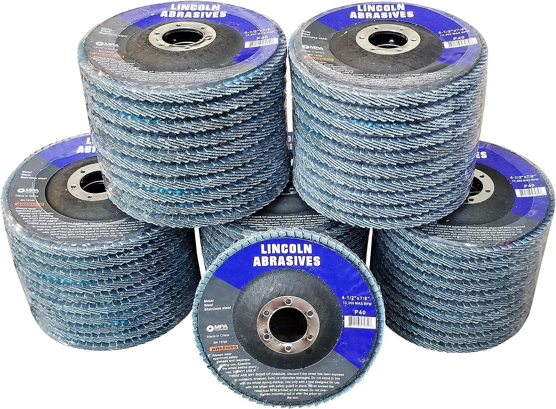 50 Pack Flap Discs 40 Grit 4.5 x 7//8 Sanding Wheels