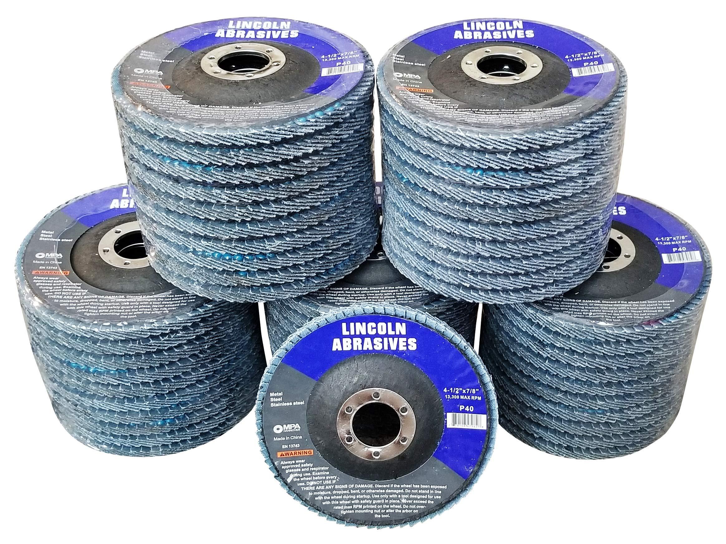 50 Pack Flap Discs 40 Grit 4.5'' x 7/8'' Sanding Wheels