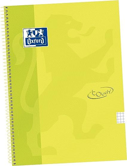 Oxford Touch - Pack de 5 cuadernos espiral, tapa extradura, color lima: Amazon.es: Oficina y papelería