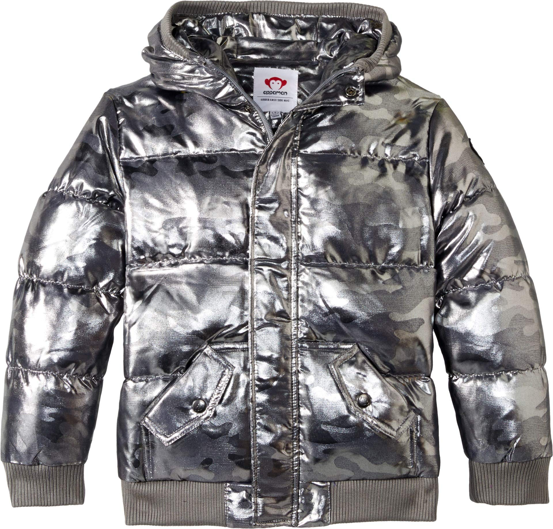 Appaman Kids Baby Boy's Puffy Coat with Hood and Front Pockets (Infant/Toddler/Little Kids/Big Kids) Gunmetal Camo 4 US Toddler