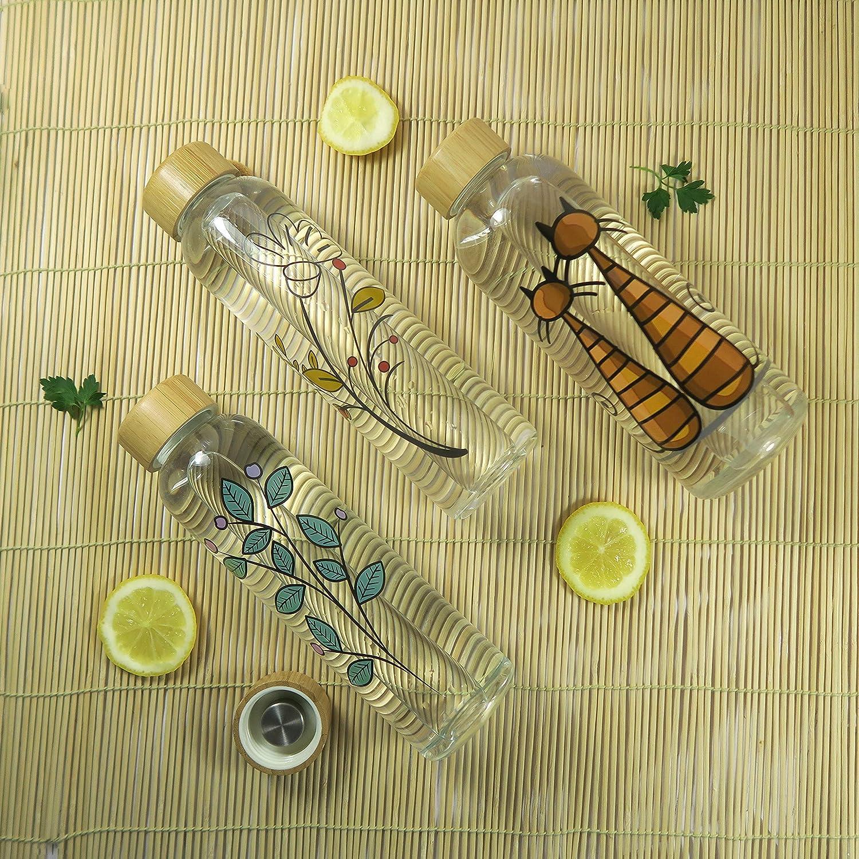 para t/é Wenburg Cantimplora Botella de Cristal con Tapa de bamb/ú 550//750 ml Cubierta de Neopreno Botella Deportiva//Botella de Agua de Vidrio Batidos para Llevar