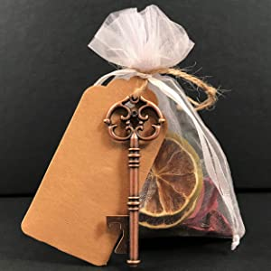 DUAMY Bolsitas de Organza Blancas + abridor con Forma de Llave + Etiqueta Kraft. 20 Bolsas de Tela, Detalle Invitados de un Evento: Boda, Bautizo, comunión, cumpleaños, Navidad. Vintage.