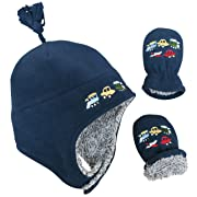 N'Ice Caps Boys Sherpa Lined Micro Fleece Embroidered Hat and Mitten Set (6-18 Months, Infant - Navy)