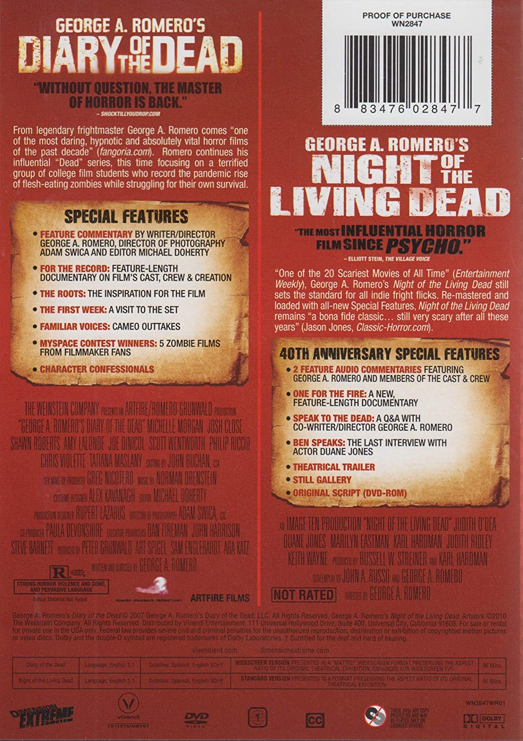Amazon com: Night Of the Living Dead/Diary of the Dead