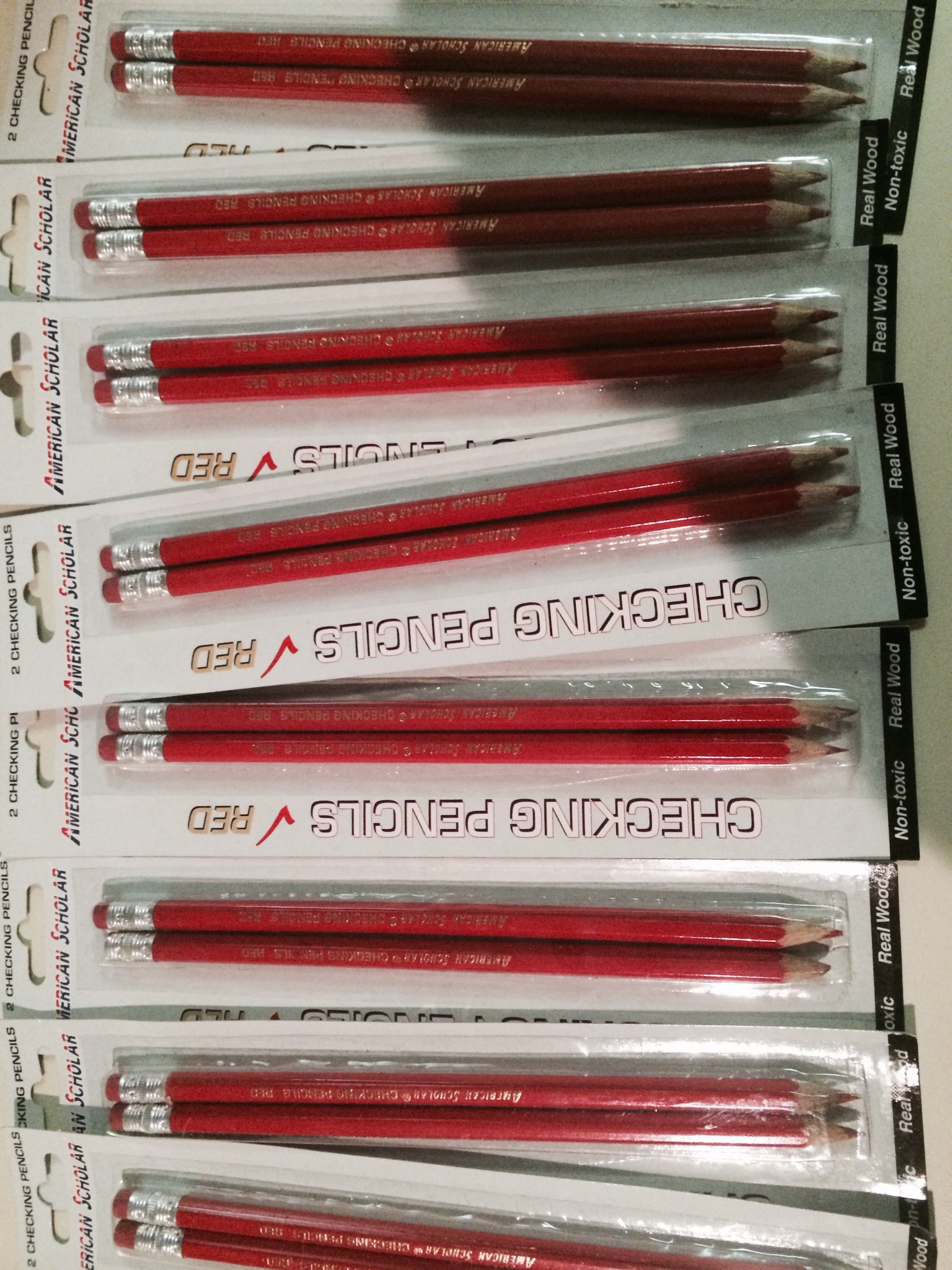 AMERICAN SCHOLAR CHECKING PENCIL WITH ERASER (RED) 48 PENCILS (24 PKX2)