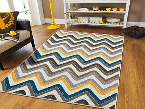 Zigzag Style Large Area Rugs 8×11 Under 100 Blue Brown Cream Yellow Grey Best Rugs Dogs 8×11 Area Rugs Indoor Outdoor Carpet, 8×11 Rugs