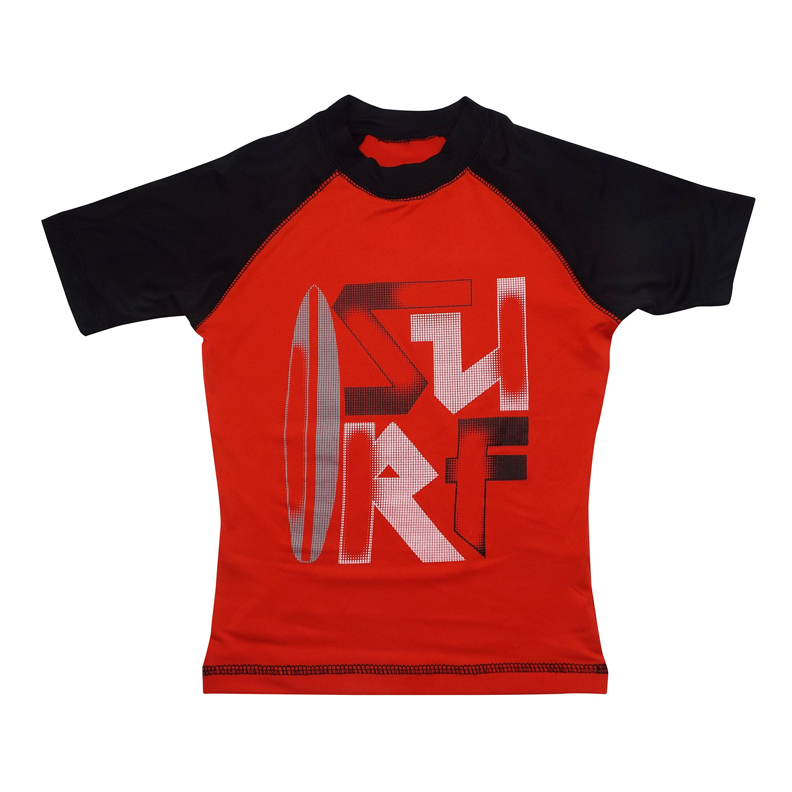 Boys' Short-Sleeve Rashguard - ''Surf'' Red and Black Swim Shirt - Size 8-10