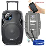 Public Adress mobile MP3 800W 3 micros PORT15VHF-BT Effet OVNI RoundMagic LytOr C/âble PC