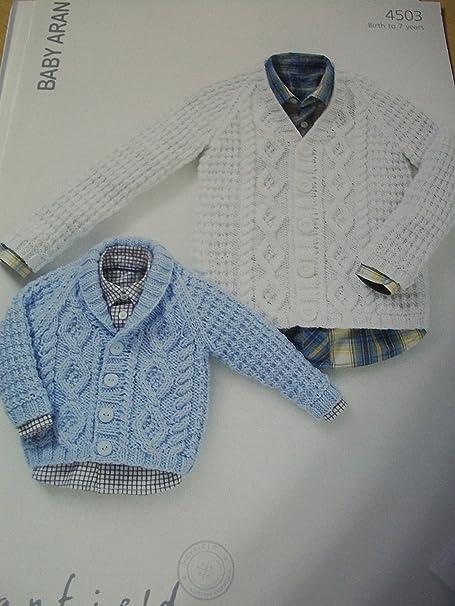 Sirdar Hayfield Baby Aran Knitting Pattern 4503 Cardigans Age