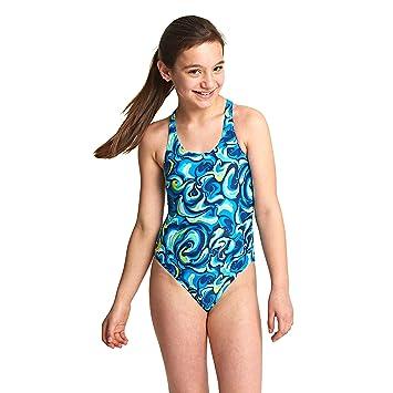c5fe20a81a Zoggs Girls  Tie Marbling Rowleeback Swimsuit  Amazon.co.uk  Sports ...