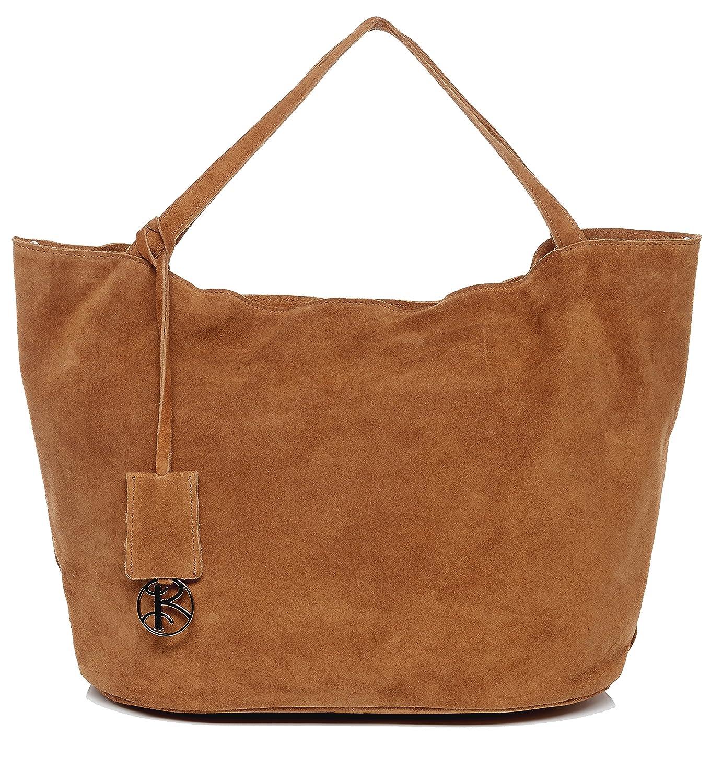 BACCINI® large tote bag & shoulder bag - woman handbag SELMA keyring | purse women´s bag black real leather