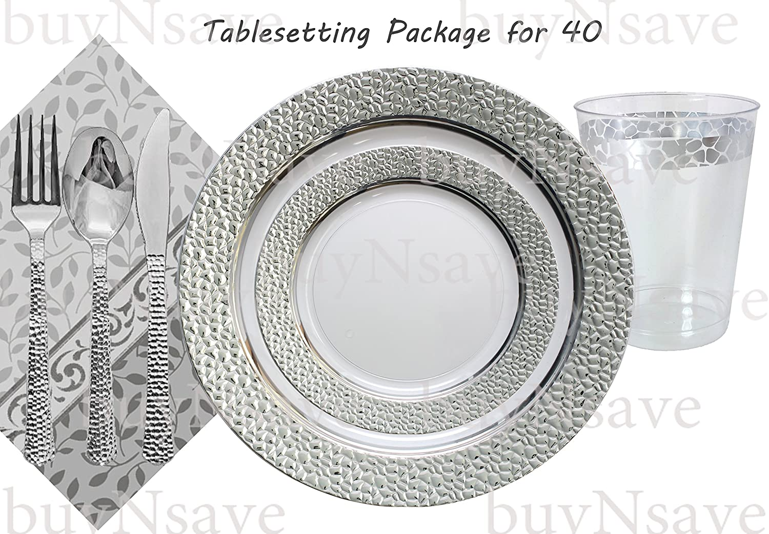 Amazon.com Elegant Wedding Party Disposable Plastic Plates Hammered Clear with Silverfor 40 GuestsDinner Plates10.25 Salad Plates7 NapkinsTumblers ...  sc 1 st  Amazon.com : tableware for weddings - pezcame.com