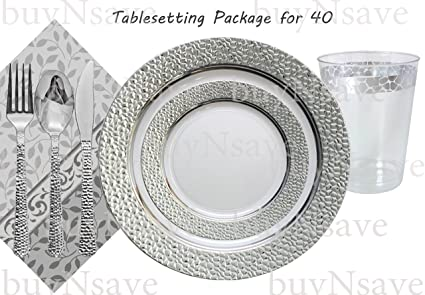 Elegant Wedding Party Disposable Plastic Plates Hammered Clear with Silverfor 40 GuestsDinner  sc 1 st  Amazon.com & Amazon.com: Elegant Wedding Party Disposable Plastic Plates Hammered ...