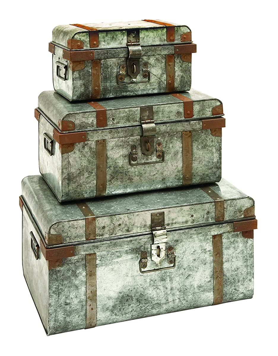 Benzara Galvanized Trunk with Rivets and Metal Strips, Set of 3