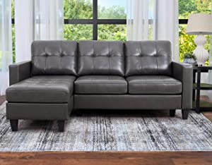 Abbyson Living Reversible Chaise Lounge Leather Sectional Sofa, Grey