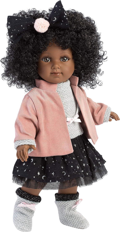 Llorens 53526 Zuri - Muñeca de Pelo Negro con rizos Negros y Ojos Marrones, muñeca Moderna con Cuerpo Suave, Incluye Vestido Moderno, 35 cm, Multicolor