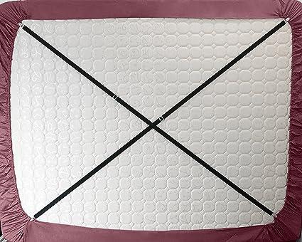 Ajustable Criss Cross clips de cama hoja titulares sujetadores pinzas tirantes correas (Pack de 2