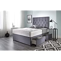 bed centre ziggy grey plush divan bed set