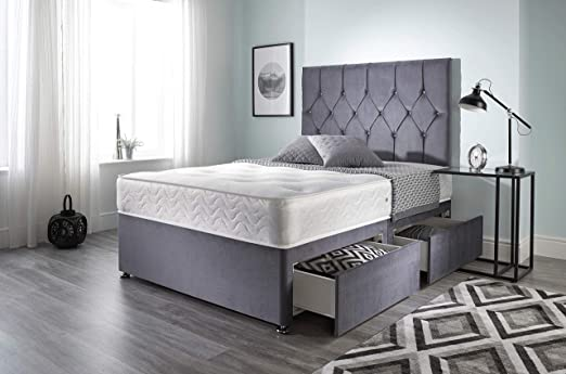 Bed Centre Ziggy Grey Plush Memory Foam Divan Bed Set With Mattress, 2 Drawers and Headboard