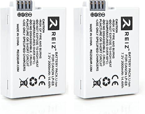 Reiz batería para Canon LP-E8 (2 unidades) para Canon EOS 550d, 600d, 700d, Rebel T2i, Rebel T3i, Rebel T4i, Rebel T5i: Amazon.es: Electrónica