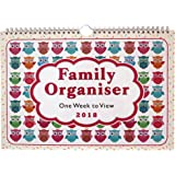 Arpan 2018 Family Organiser Calendar - One Week to View Planner - Space For up to 5 People (2018 - Owls Design)