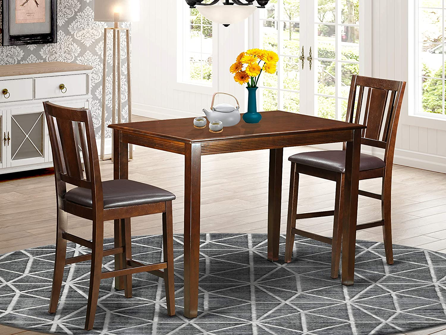 3 PC Dining counter height set - Table and 2 bar stools.