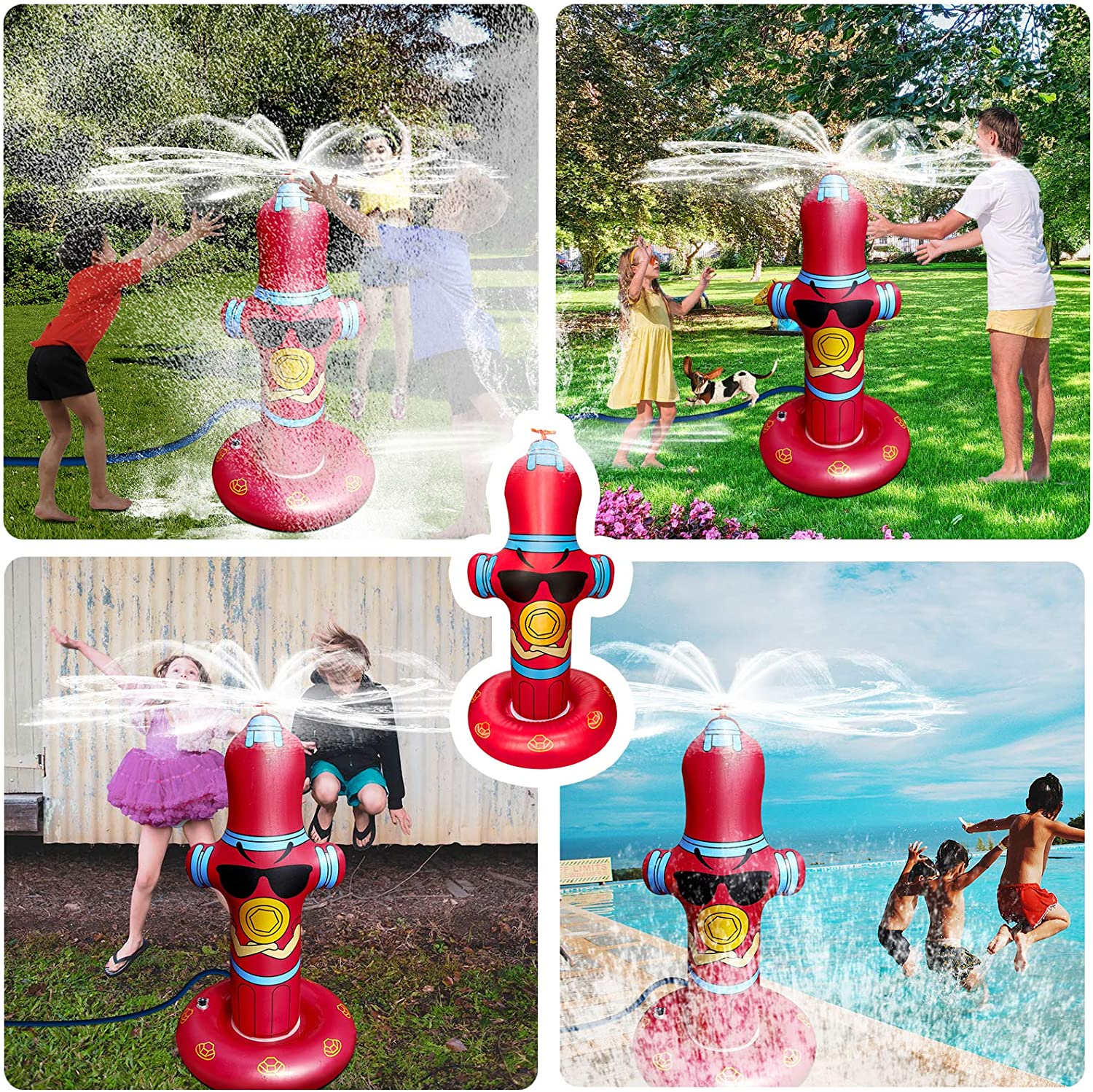 Vimite Water Sprinkler for Kids,Fire Hydrant Kids Sprinkler for Yard,50 Inflatable Sprinkler,360/° Spray Toddler Sprinkler with Eco-Friendly PVC Material Summer Outdoor Toys for Toddlers Big Kids