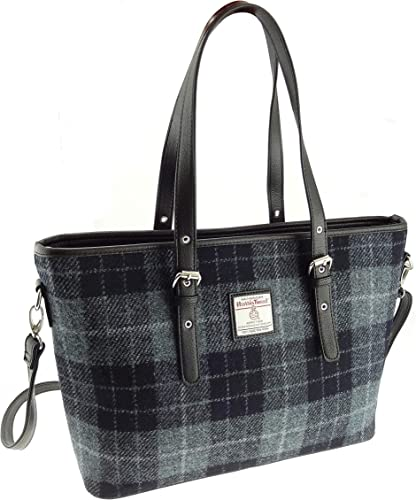 handbag or purse gift for her plaid weekend holdall British wool tweed large tote bag with genuine leather handles