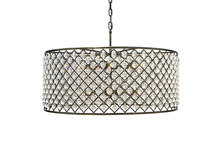 Cassiel Crystal Drum Chandelier Extra Large Antique Brass